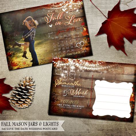 fall wedding invitations and save the dates fall wedding save the date postcards with calendar wood
