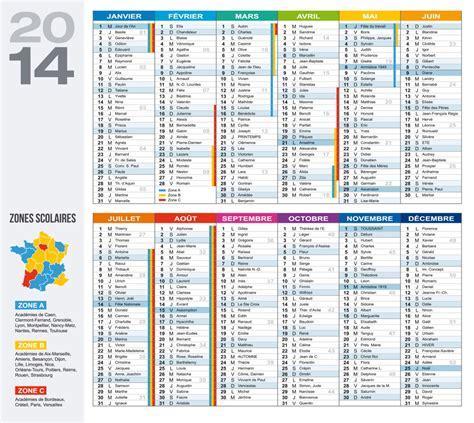 Calendrier Carte Calendrier 2014 Avec Carte Des Zones Scolaires Et
