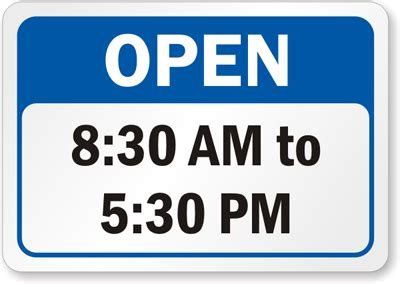 Business Hours Signs Opening Hours Template