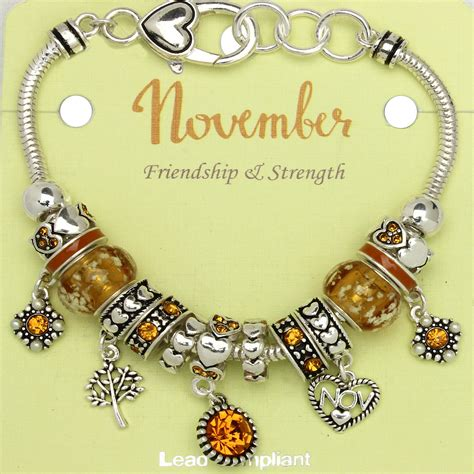 november birthstone topaz november birthstone charm bracelet murano beads