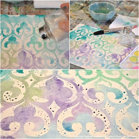 watercolor pattern diy paint watercolor wall art with stencils paint pattern