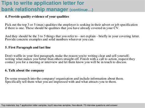 application letter banking unit manager bank relationship manager application letter
