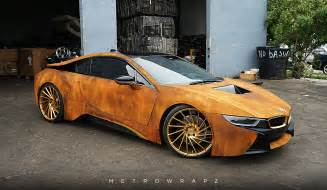 Handcrafted Cars - rust wrapped bmw i8 gets fast motor trend