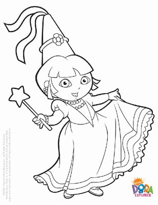 Princess Dora Coloring Page Loading