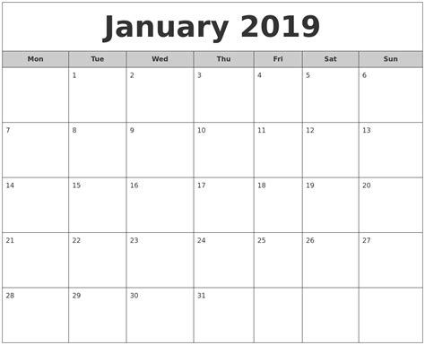 printable monthly calendar starting monday january 2019 free monthly calendar