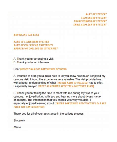 Thank You Letter For College Sle College Acceptance Letter 7 Documents In Pdf Word