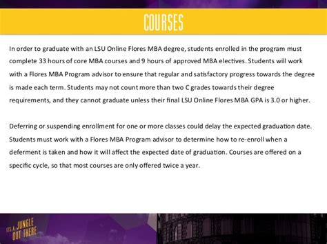 Lsus Mba Degree Requirements by Lsu Flores Mba Mba