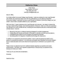 Lead Architect Cover Letter by Lead Educator Cover Letter Exles Education Cover Letter Sles Livecareer