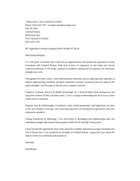 cover letter for leasing apartment leasing consultant cover letter sles and