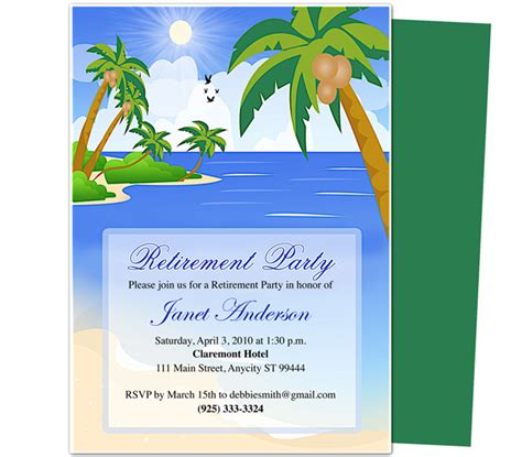 word templates for retirement invitations retirement templates paradise retirement party