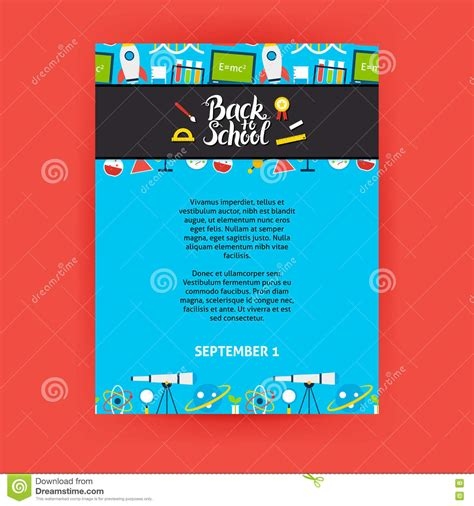 back to school poster template stock vector illustration