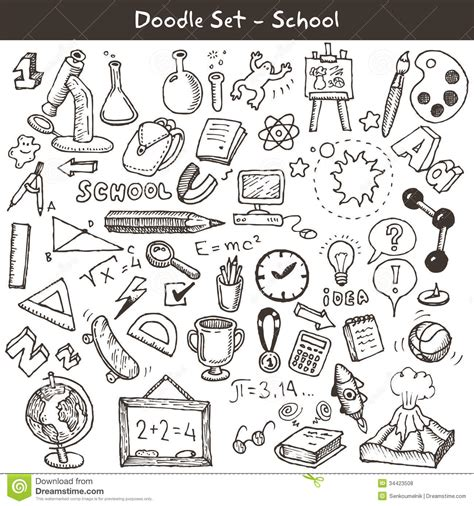 doodle school free doodle set school stock vector image of medal geometry