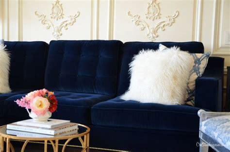 deep blue velvet sofa blue velvet tufted sofa i m drooling interiors pinterest