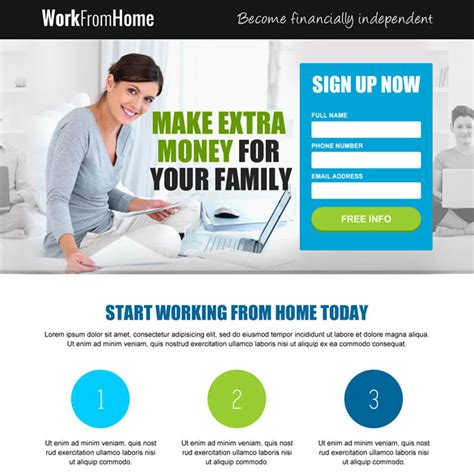 Extra Income Working Online From Home - responsive work from home landing page design templates to earn money online