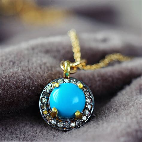 turquoise birthstone turquoise and december birthstone necklace by