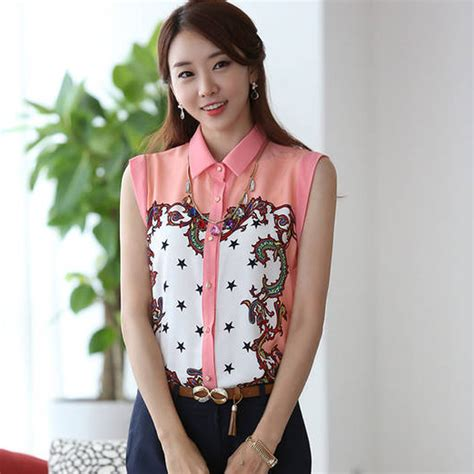 Blouse Korea Fashion Casual korean fashion chiffon tops fit shirt casual sleeveless printed blouse on luulla