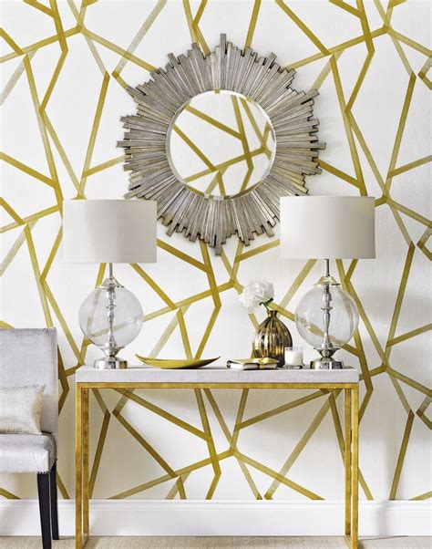 gold wallpaper hallway combine statement wallpaper with bold accessories for an