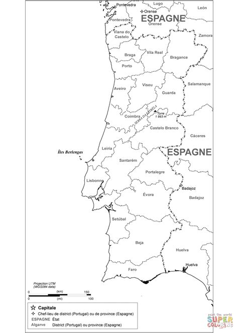 printable map portugal portugal administrative map coloring page free printable