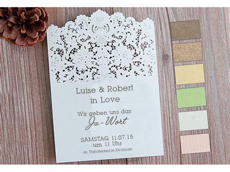 Einladungskarten Zur Hochzeit by Einladungskarte Zur Hochzeit Mit Lasercut Spitze Vintage