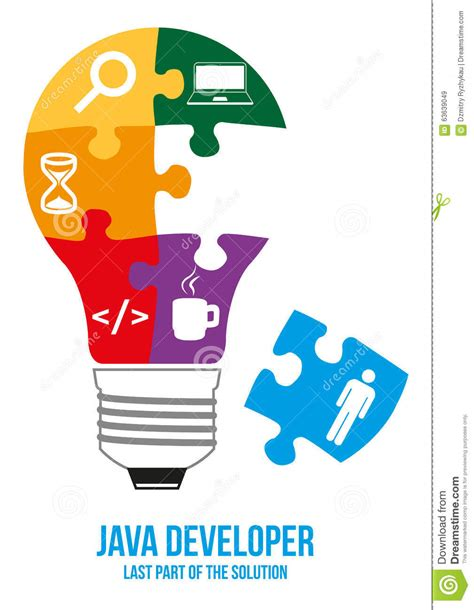 java pattern a za z java developer search puzzle design concept stock