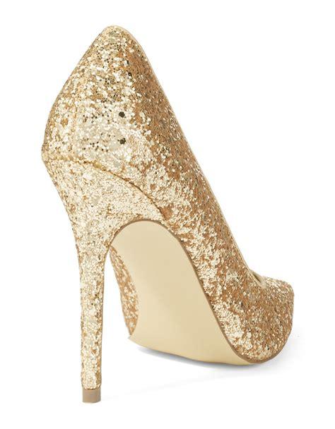 steve madden sparkly high heels steve madden atlantyc glitter pumps in gold lyst