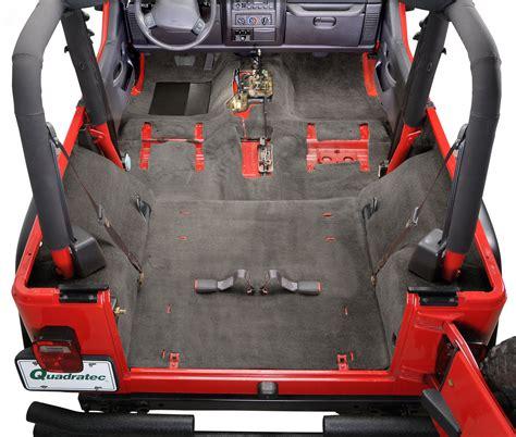 jeep rug auto custom carpets 174 premium replacement carpet kit for 99 02 jeep 174 wrangler tj quadratec