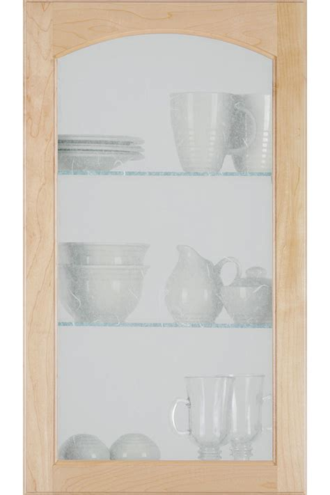 Arch Glass Cabinet Door with Rice Paper Insert   Homecrest