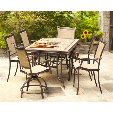 High Dining Patio Sets Hton Bay Westbury 7 Sling Patio High Dining Set S7 Adq27113 The Home Depot