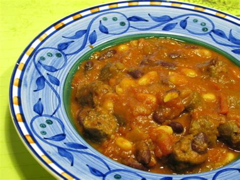 spicy bean stew with sausages recipe food