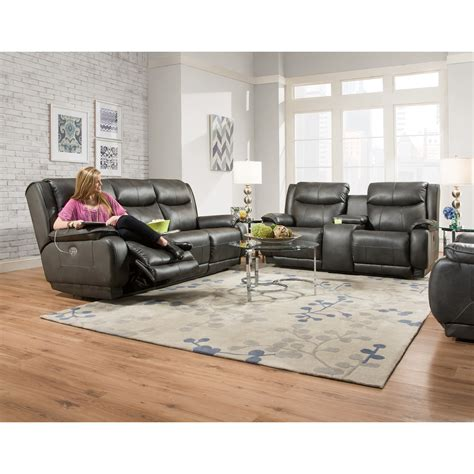 southern motion sofa with power headrest southern motion velocity reclining console sofa