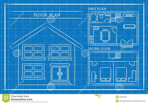 home blueprint design blueprint house plan architecture stock vector image