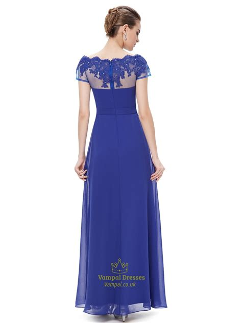 royal blue boat neck chiffon appliqued prom dress with - Royal Blue Boat Neck Dress