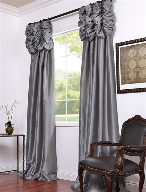 ruched drapes platinum embroidered ruched faux silk taffeta curtains