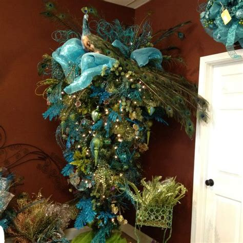 obsessed i need this upside down peacock christmas tree