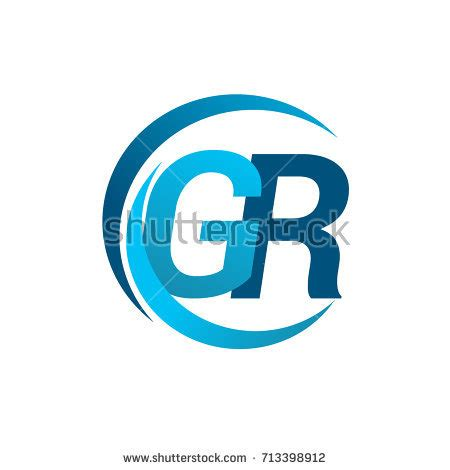 design logo gr initial letter rf logotype company name stock vector