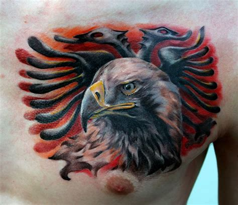 albanian flag tattoo albanian eagle done by poppay studio