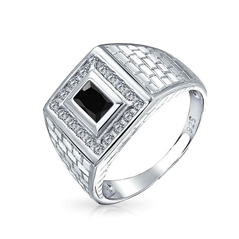 brick pattern rectangle cz mens engagement ring silver