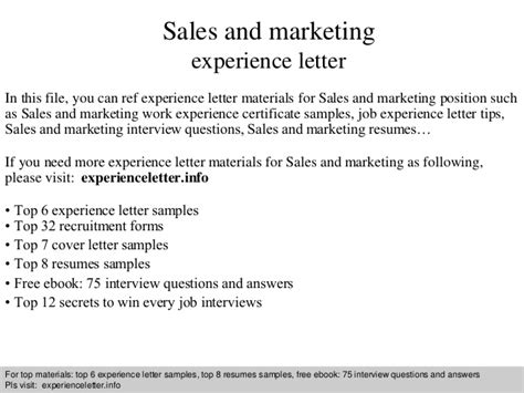 Experience Letter Marketing Sales And Marketing Experience Letter