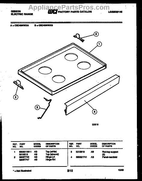 Frigidaire Cooktop Replacement Parts parts for frigidaire cec4m4wxa cooktop parts appliancepartspros