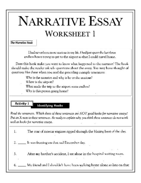 Fictional Narrative Essay Exles by Narrative Essay Worksheets Grade 4