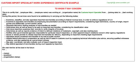 Import Specialist Cover Letter by Customs Specialist Resume