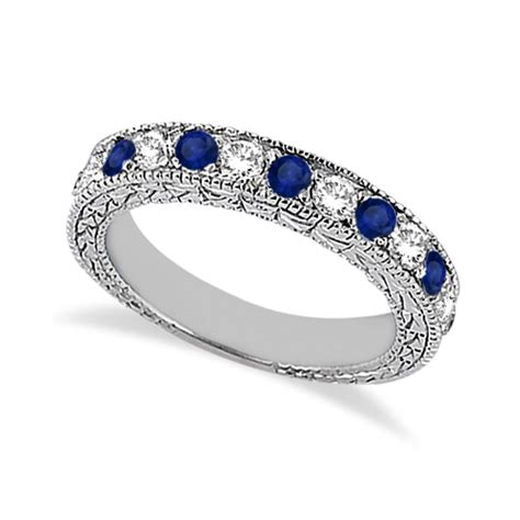 Blue Sapphire 9 05ct antique blue sapphire wedding ring 14kt white
