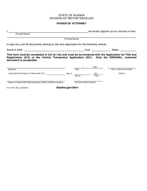 sle limited power of attorney form power of attorney form alaska division of motor vehicles