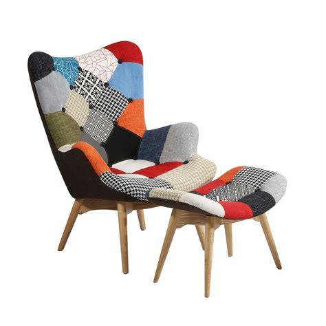 ottoman meuble fauteuil freather et ottoman patchwork chaises icon