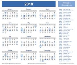 Calendar 2018 Federal Holidays 2018 Calendar With Holidays Calendar Printable Free