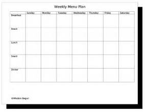 Blank Weekly Menu Template by Free Menu Planning Templates Clipart Best