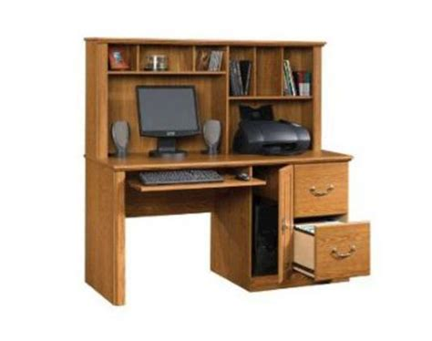 sauder orchard computer desk with hutch carolina oak sauder orchard 58 quot carolina oak computer desk with
