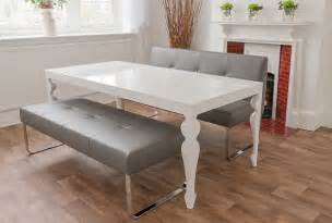 White Dining Room Table With Bench And Chairs White Gloss Dining Room Table And Genoa Benches By Danetti Home Interiors