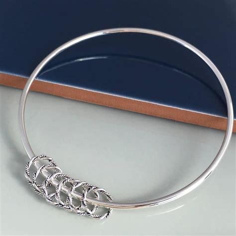 Handmade Silver Bangles - 60th birthday handmade silver rings bangle by handmade by