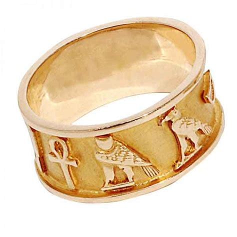 18k Gold Wedding Band by Wedding Band Cartouche 18k Gold Ring Egypt7000